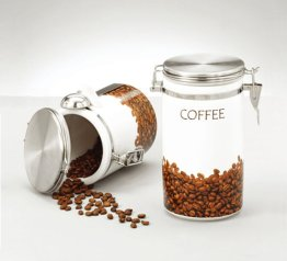 Stoneware Coffee Canister, round, for coffee